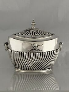 Antique Silver TEA CADDY 1902 London GOD GRANT GRACE Motto CHARLES BOYTON