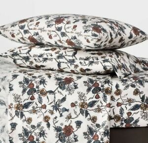 Threshold Twin Floral Flannel Sheet Set Blue Cream Brown 3 Pc Cotton New