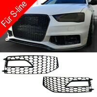 Für Audi A4 B8 12-16 RS4 Look Wabengrill S-line Nebelscheinwerfer Blende Gitter
