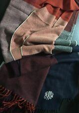 $49 Mark & Graham Tassels Checked Blanket Scarf Wrap Orange/Navy/Purple Mono IWA