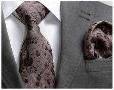 ITALIAN DESIGNER BROWN FLORAL SILK TIE & HANKY