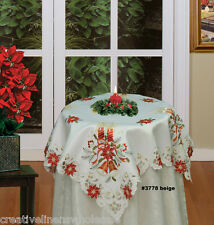 """Christmas Poinsettia Tablecloth 33"""" Square Topper Holiday Beige FREE S&H #3778E"""