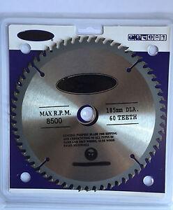 "7-1/4"" (185mm) X 60teeth Circular Saw Blade. Wood Saw Blade Single Pack."