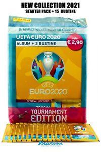 PANINI UEFA EURO 2020 TOURNAMENTE EDITION 2021 STARTER PACK + 15 BUSTINE STICKER
