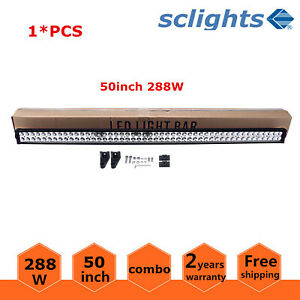 50inch 288W LED Work Light Bar Combo Offroad 4WD Driving SUV Boat RZR Ford 48/52