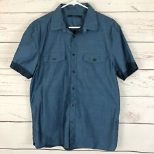 Perry Ellis Men's Large Blue Button Down Shirt Short Sleeve Chambray Pockets