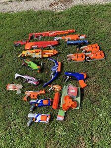 Lot of 18 Nerf Guns Darts Rival N-Strike Mega Bows