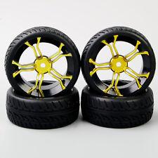 4X Rubber Tyre&Wheel Rim 6mm offset For HSP HPI 1:10 On Road Car MPNKG+PP0150