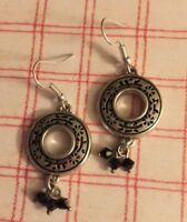 Brighton Silver Circle Scrollwork Black Sparkle Bead French Wire Custom Earrings