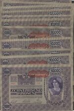 Austria 10,000 Kronen  21 notes lot  2.11.1918   Circulated Banknote