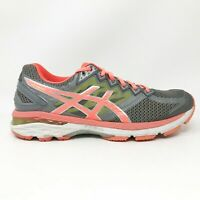 Asics Womens GT 2000 4 T656N Gray Coral Volt Running Shoes Lace Up Size 8.5