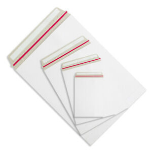 All Board White Postal Envelopes - Peel & Seal All Sizes Card Heavy Duty Mailer