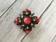 Vintage Red Moonglow Lucite Brooch / Pin with Pearls and Rhinestones