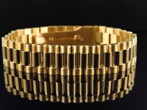 Men's Presidential Style Bracelet in Solid 18k Gold (16 MM)