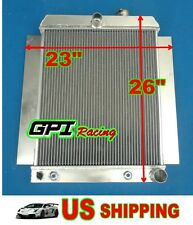"""2 CORE Universal Aluminum Radiator Griffin Hot Rat Rod Ford Chevy Dodge 26""""×23"""""""