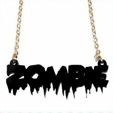 NERO ZOMBIE COLLANA ~ il WALKING DEAD ~ HALLOWEEN ~ HORROR ~ Goth ~ LASER CUT Acrilico