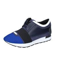 scarpe uomo SALVO FERDI 43 EU sneakers blu nero camoscio pelle BZ614-D