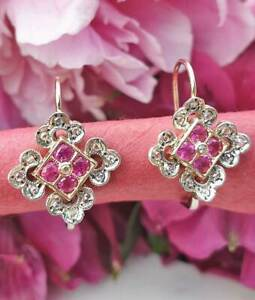Elegant Victorian Inspired 14ct Yellow Gold Ruby and Diamonds Drop Earrings