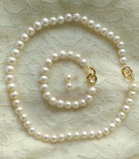 genuine cultured white freshwater pearl bib necklace bracelet earring stud set