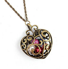 Wholesale Vintage Antiqued Bronze Open Heart Pendant Necklace Steampunk Jewelry