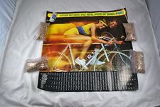 Pabst Blue Ribbon Beer 1982 83 Calendar Woman On Bicycle Wall Poster  D1B11