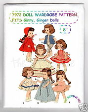 "7972 Doll Pattern 8"" Wardrobe Fits Ginny, Ginger& other Dolls"
