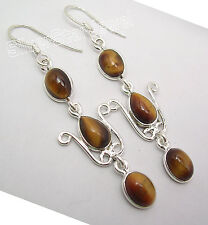"""Stone Long French Hook Earrings 2.2"""" 925 Silver Exclusive Brown Tiger'S Eye 3"""