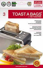 Toastbeutel 3 Stück 50x Wiederverwendbar, Toast a Bag, Sandwich, Omelett