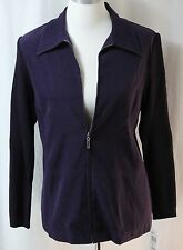 Notations, Small, Eggplant Sueded Zippered Jacket Knit Sleeves, New with Tags