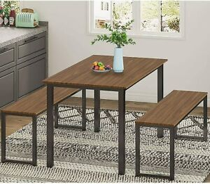 3 Piece Dining Table Set, Breakfast Nook Dining Table with Two Benches (Espresso