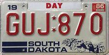 GENUINE 1986 South Dakota Mount Rushmore Day Co USA License Number Plate GUJ 870