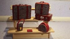 doll house items 6 x handmade leather/material travel luggage 1.12th A1
