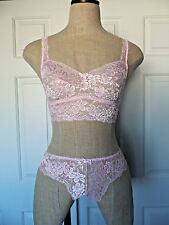 Cosabella LUCKY Barely Pink Lace Cropped Camisole Bra S & Low Rider Thong S/M
