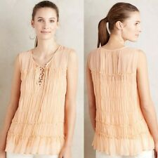 NWT Floreat Calla Peach Orange Lace Up Tiered Tank Top Blouse Mesh Layered Sz 4