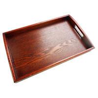 Fruit Serving Tray Tea Food Server Dish Platter Brown Wood Plate 30x20x3.5cm
