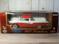 Road Legends 1957 Ford Ranchero 1:18 Scale Diecast Model Hot Rod Truck Red/White