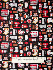 Kitchen Coffee Java Pot Espresso Cotton Fabric Timeless Treasures C2938 Yard