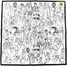 """EMILIO PUCCI white with black TOURISTS Graphic silk 34"""" LARGE scarf NEW Authentc"""