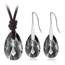 Black Crystal Almond Jewellery Set Drop Earrings Leather Necklace Pendant S738