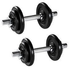 2x 10kg Mancuerna con Pesas Halteras de Fitnes Acero Hierro Musculación Gimnasio