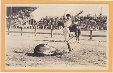 Real Photo Postcard RPPC- Rodeo Cowgirl Mabel Strickland Roping Steer Doubleday