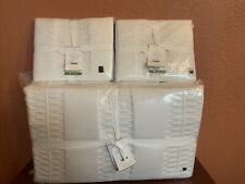 New Pottery Barn King Tencel Lyocell washed Quilt 2 Euro Shams White