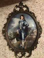 """Vintage """"Blue Boy"""" Picture Ornate Victorian  Metal Frame Convex Glass 17"""" Italy"""