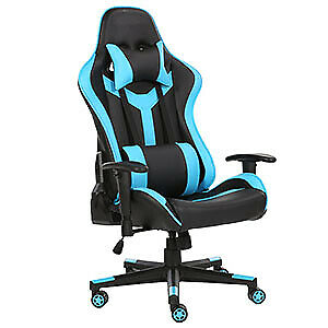 Computer Gaming Chair High Back Swivel Ergonomic Racing Leather  Light Blue