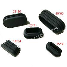 4x Plastic Black Blanking End Cap Oval Tube Inserts Box 15/20/30/40mm 50mm