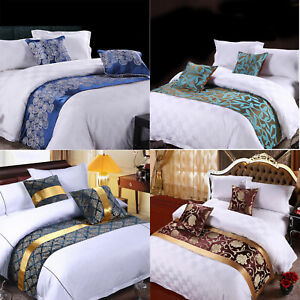 Double Layer Bed Runner Scarf Bedding Protector Hotel Bedroom Wedding Home Decor