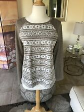 Talbots NWT taupe & ivory printed long sleeve sweater size M $69.50!