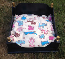 Dog Bed Wooden Black and Gold with Fleece Cushion