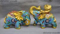 Chinese Feng Shui bronze Cloisonne Enamel auspicious animal Elephant statue Pair