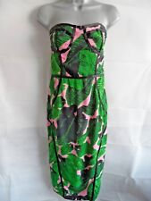 Bandeau Bodycon Dress Size 12 Pink Leaf Print Wiggle Holiday Evening Holiday